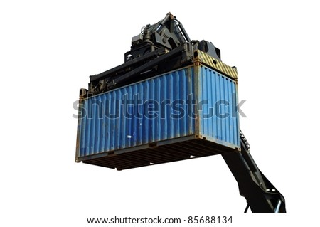 Spreader of a reach-stacker isolated on white - stock photo