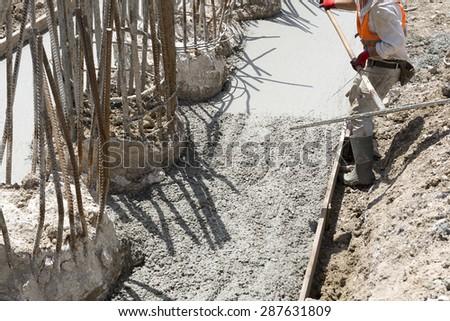 Spreading Concrete - stock photo