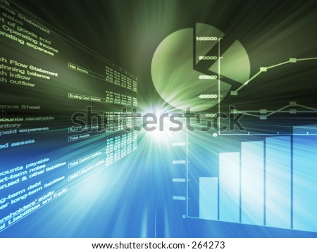 Spreadsheet data and  business charts - stock photo