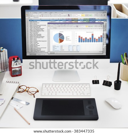 Spreadsheet Marketing Budget Report File Concept - stock photo