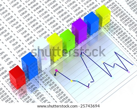 Spreadsheet with colorful graph bars with numbers in background