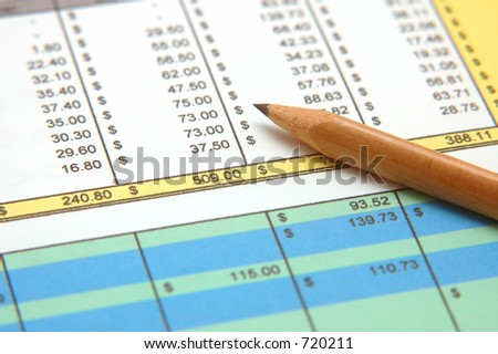 Spreadsheet with Pencil - stock photo