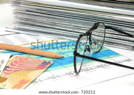 Spreadsheet with Pencil 2 - stock photo