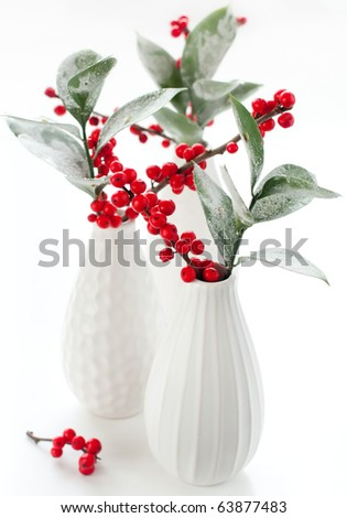 Sprigs of holly with hoar frost  in  vases. - stock photo