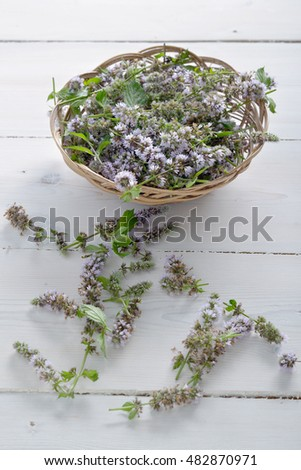 sprigs of mint with flowers in a wicker vase on wooden background