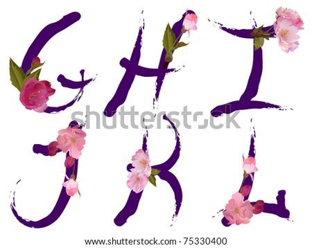 Spring alphabet with gentle sakura flowers letters G,H,I,J,K,L (see eps version in my portfolio) - stock photo