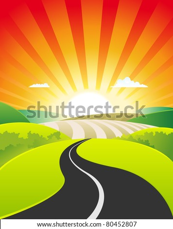 Spring And Summer Country Landscape/ illustration of spring or summer season scene, with road going towards cartoon landscape poster background, for agriculture , travel, vacations or holidays banner