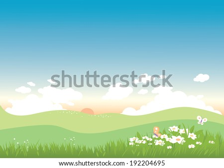 Spring and summer landscape with flowers and butterflies.