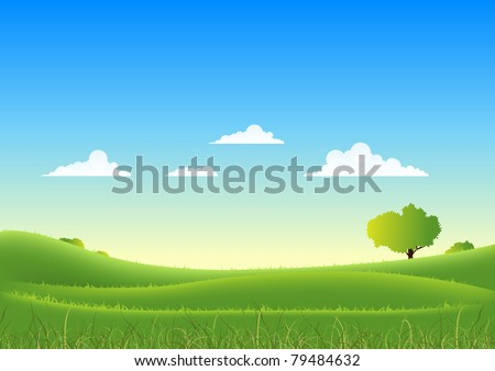 Spring And Summer Seasons Landscape/ Illustration of a cartoon nature summer or spring seasonal landscape, with fields, trees, grass and beautiful sky - stock photo