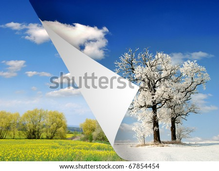 spring and winter landscape - stock photo