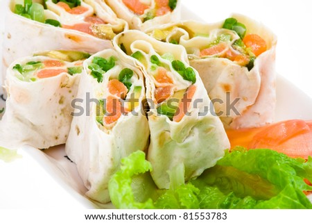 spring appetizer with salmon in pita bread - stock photo