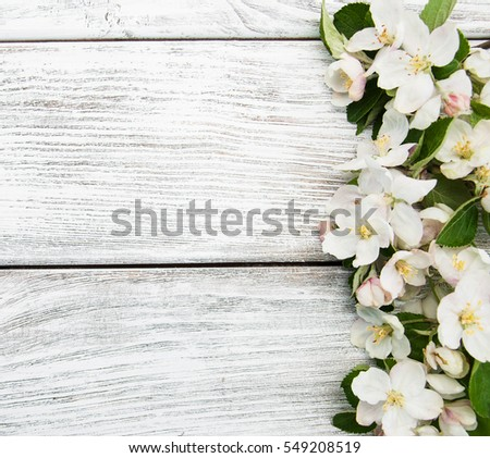 Spring apple blossom on a old wooden background