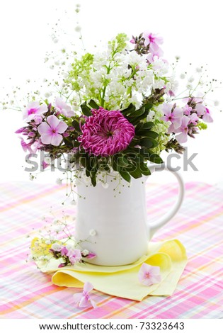 Spring arrangement of aster,phlox and lilac