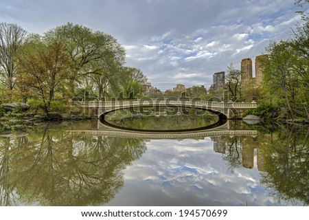 Spring at the bow bridge Central Park, New York City
