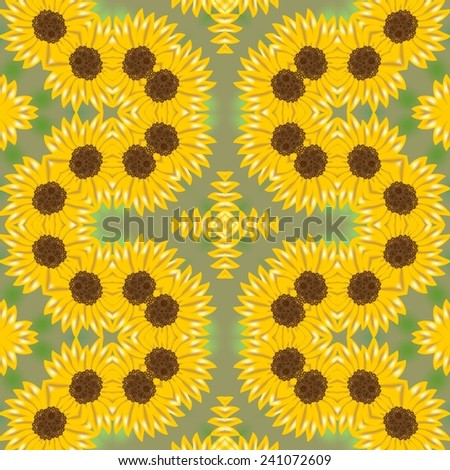 Spring background tile with yellow flower waves on blur green area