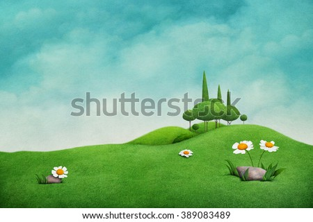 Spring background with beautiful  nature  for greeting card and illustration - stock photo