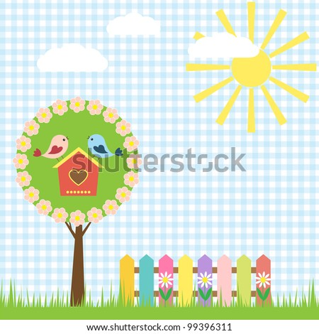 Spring background with birds. Raster version
