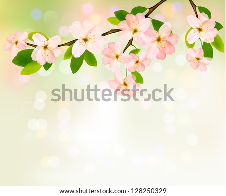 Spring background with blossoming tree brunch with spring flowers. Raster version of vector - stock photo