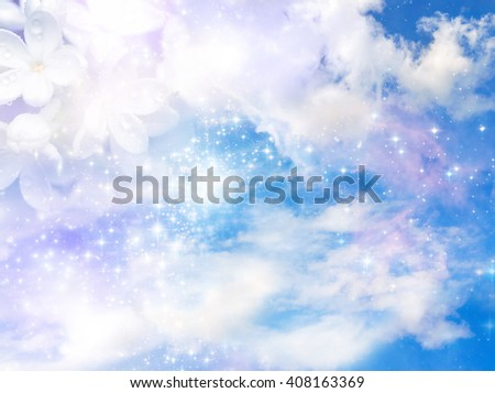 spring background with cloudy sky and white lilac flower - stock photo