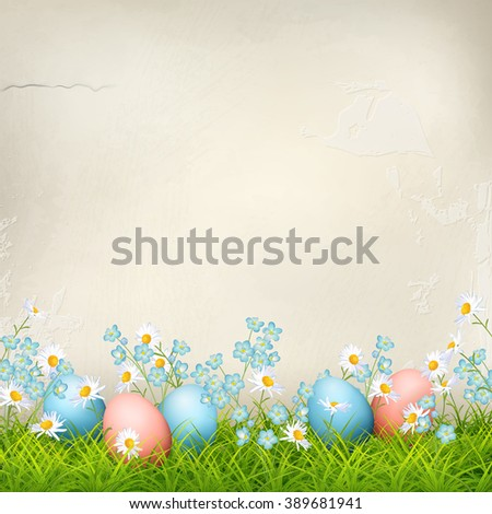 Spring background with Easter eggs, flowers, grass against plaster wall