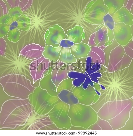 Spring background with flowers and butterflies - stock photo