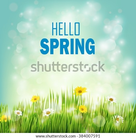 Spring background with flowers daisies in grass - stock photo