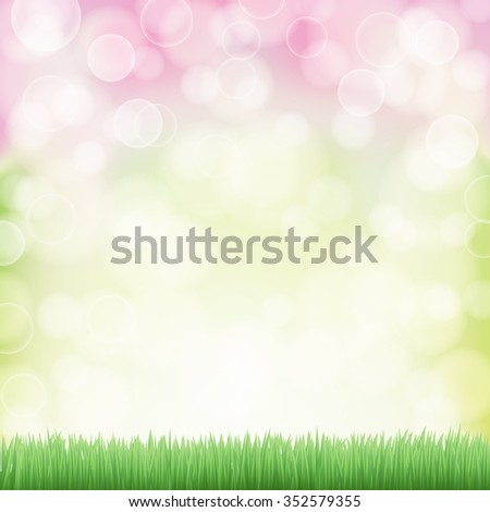 spring background with green grass and bokeh effects lights. JPG version - stock photo