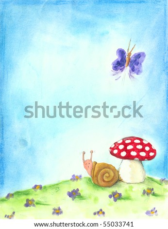 Spring background with snail, butterfly and mushroom - stock photo