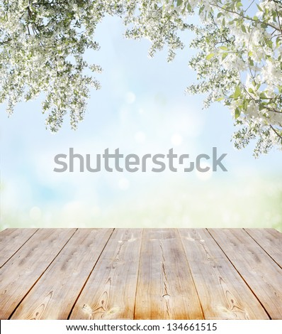 spring background with wooden planks - stock photo