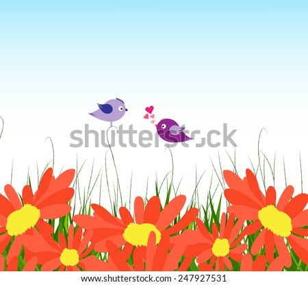 spring background with yellow sunflowers and couple bird lovely - stock photo