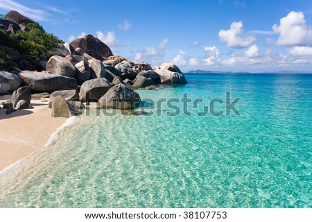 spring bay tropical beach in the virgin islands - stock photo