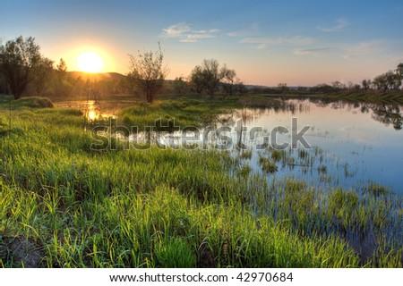 spring beautiful sunset landscape - stock photo