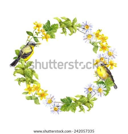 Spring birds, flowers and herbs. Floral vintage wreath. Retro watercolor - stock photo