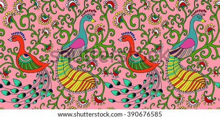 Spring birds seamless pattern. Colorful texture on white background. - stock photo