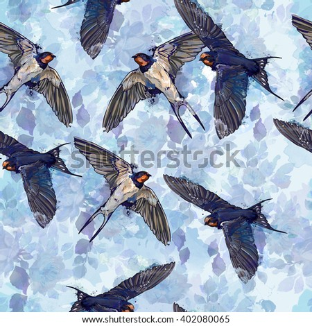 spring birds watercolor illustration, seamless  - stock photo