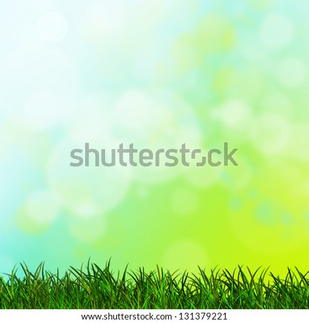 spring bokeh background with grass - stock photo