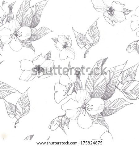 Spring border background with pink blossom. Seamless pattern - stock photo