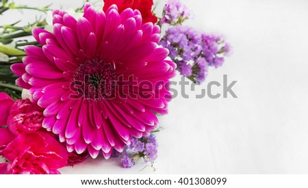 Spring bouquet flowers with gerbera,carnations and purple flowers - stock photo