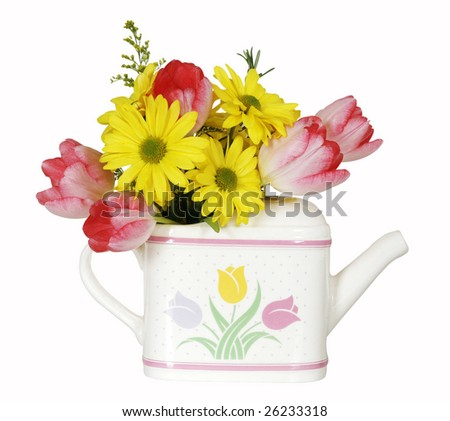 spring bouquet in decorative watering can with clipping path