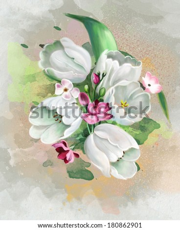 spring bouquet of white tulips