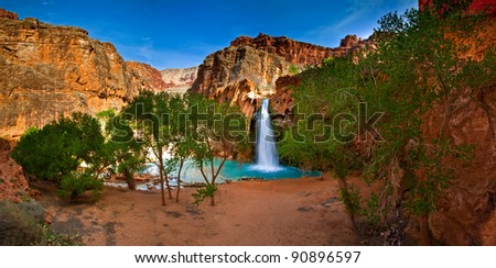 Spring brake in peaceful Havasu Indian Reservation at Grand Canyon, Arizona - stock photo