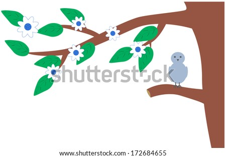 Spring branch of a tree with green leafs and white flowers and grey bird