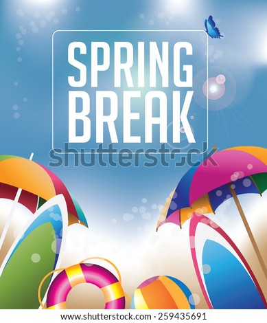 Spring Break background with copy space royalty free stock illustration for greeting card, ad, promotion, poster, flier, blog, article, social media, marketing - stock photo