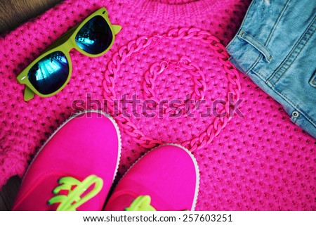 Spring bright pink look. Fashionable female clothing and accessories. Photo toned style Instagram filters - stock photo
