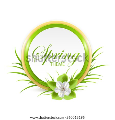 Spring card with flower and grass isolated on white background, illustration. - stock photo