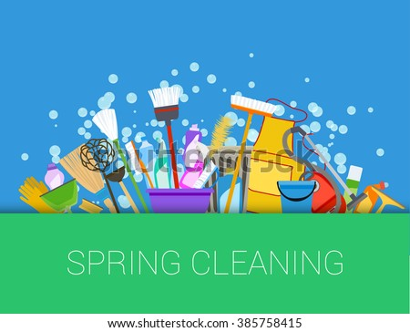 Spring cleaning background. Set of cleaning supplies. Tools of housecleaning. raster - stock photo