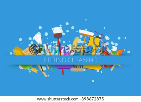 spring cleaning supplies blue background - stock photo