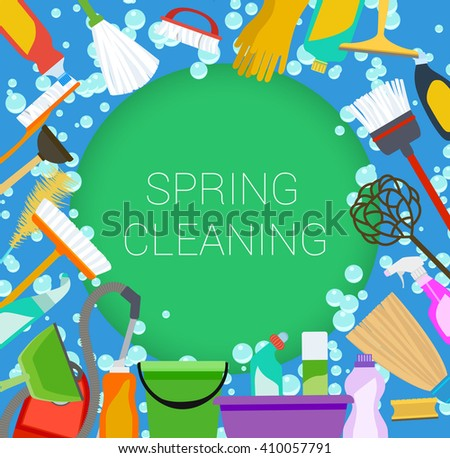 Spring cleaning supplies frame on green and blue. Tools of housecleaning background. raster - stock photo
