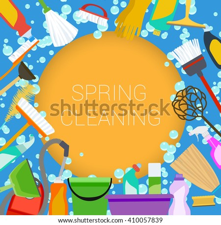 Spring cleaning supplies frame on orange and blue. Tools of housecleaning background. . raster - stock photo