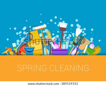 Spring cleaning with set of supplies background. Raster - stock photo